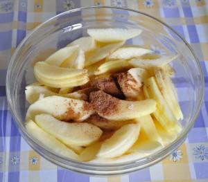 taglia le mele a fettine e unisci lo zucchero e le spezie